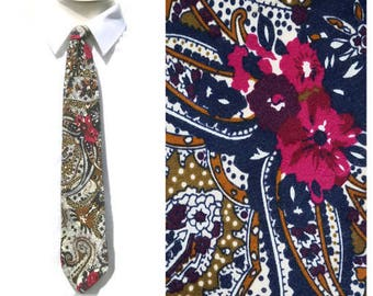 Vintage Floral Tie,Paisley Tie,Bold Graphic Paulo Conti Tie,Boho Wedding Tie,Polyester Tie with Flower,His o Her Tie,Flower Power Hippie Tie