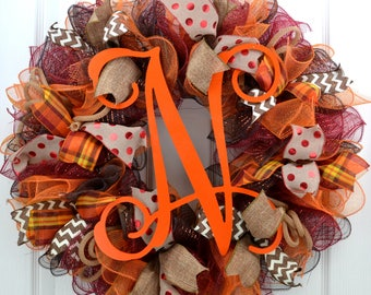 Monogram Fall Wreath - Fall wreath with Monogram - Fall Wreath with Initial - Thanksgiving Mesh Wreath - Fall Front Door Wreath -Fall wreath