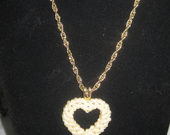"""24"""" Gold Tone Chain with Faux Pearl Heart"""