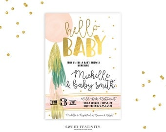 Balloon Baby Shower Invitation, Hello Baby, Girl Baby Shower Invitation, Watercolor, Balloon Tassel Invitation, Gold Foil, Blush, Baby Girl