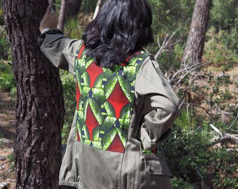 Vintage khaki army jacket customized red and green wax on the back
