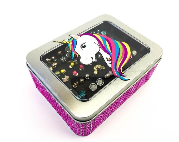 Unicorn Tin Jewelry Box - Hot Pink Jeweled Ribbon - Earring Holder