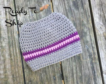 Ready To Ship Messy Bun Gray Pink Purple Messy Bun Crochet Hat Beanie Women's Crochet Hat Winter Accessories Gifts For Her
