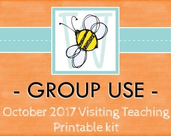 GROUP USE: October 2017 Visiting Teaching Printable Kit, Instant Download