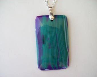 "Purple and green Agate Stone Pendant Oblong 2-1/3"" long"