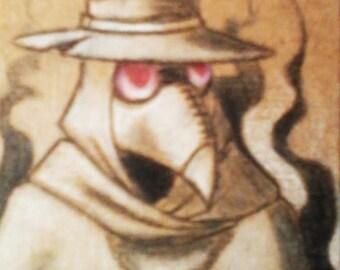 ACEO - Black Death  (Plague Doctor pocket art)