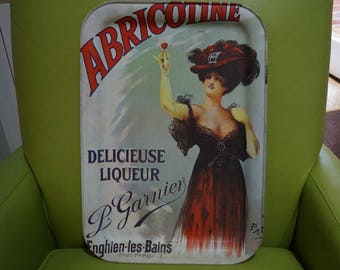 French Bar Tray-Vintage Metal Tray-Decor Tray-Promotional Tray-Abricotine Delicieuse Liqueur-P. Garnier