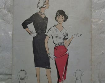 "Fab late 1950s wiggle dress pattern w/double breasted closure  bust 36"" pinup perfect"