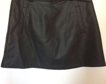 Leather A line belted mini skirt