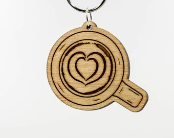 Latte Art Heart Keychain - Latte Art Keychain - Coffee Gift Keyring - Cup of Coffee Keychain - Espresso - Barista Keychain - Coffee Charm