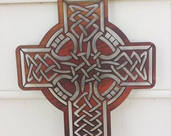 Celtic Cross - Red and Black - Oils on wood - laser cut