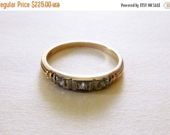 ON SALE Art Deco 18k and 14k two tone gold OEC and single cut diamond wedding stacking band size 5.75