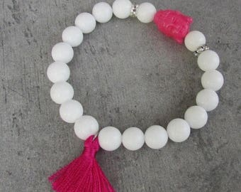 PROMOS Buddha gypsy chic bracelet, beaded gemstone beads, white agata, girly pink tassel bracelet, colored hippy fashion jewelry, colored wi