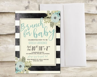Brunch Baby Shower Invitation, Couples Baby Shower Invitation, Brunch for Baby Shower Invitation, Baby Boy Brunch Invitation, Baby Brunch