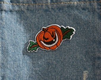 Embroidered Hallowmas Pumpkin Iron On Back Patch,Sew on Pumpkin  Applique
