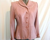 Women's 1940s Victory Suits and Utility Suits 1940s Pink Wool Nipped Waist Suit Jacket by WhitleyEtte $85.00 AT vintagedancer.com