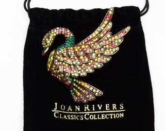 Joan Rivers Radiant Crystal Swan Large Brooch Classics Collection Copper Finish Simulated Gemstones Brooch