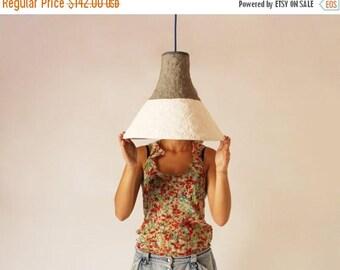 20% SALE Paper mache lamp Cypisek,  lamp, pendant light, hanging lamp, pendant lamp, white, paper lamp, industrial lamp, paper pulp lamp, ec