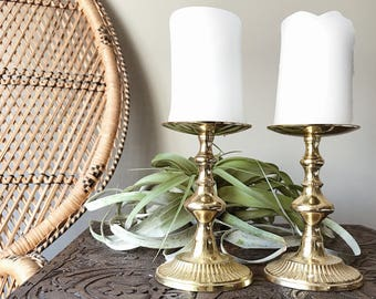 Pair of vintage brass large candle holders