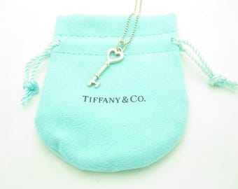 Tiffany & Co. Sterling Silver Beaded Small Key Pendant Necklace 16""