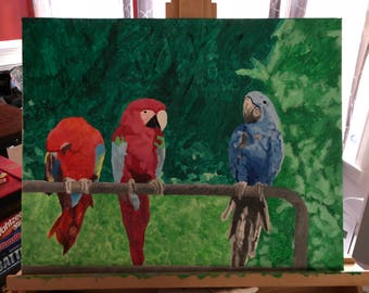 Parrots on a Fence Acrylic Painting (Original)