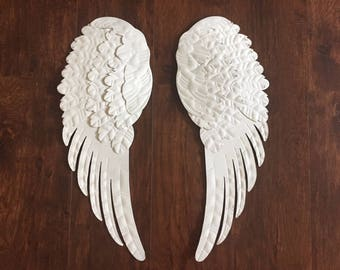 Large Angel wings, #2  metal shabby chic white, hand painted, wall decor, nursery decor, metal, angelic decor