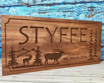 Custom Cabin Signs Personlized Signs with Cabin Name Or Family Last Name Wooden carved sign with Mountains elk  pine trees Rustic Signs