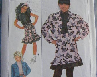 41% OFF Girls' Ruffle Skirt Top Jacket 1980's Simplicity Sewing Pattern 9263 size 7 8 10 12 14