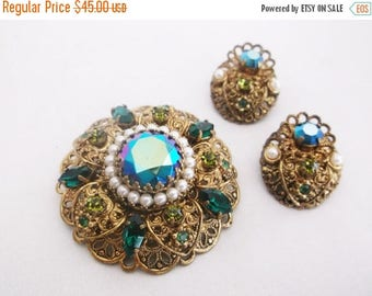 SALE Vintage W GERMANY Aurora Borealis Pearl Rhinestone Gold Tone Filigree Brooch Earrings Demi Parure Set Jewelry
