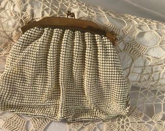Vintage Whiting & Davis White Mesh Beaded Purse, circa 1920's, Vintage Small Beaded Evening Handbag, Vintage Wedding Handbag Purse