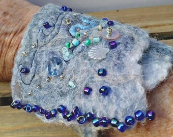 Ladies Tranquil Waters Felt Bracelet, Blue Sea Wet Felted Cuff, Festival Bracelet