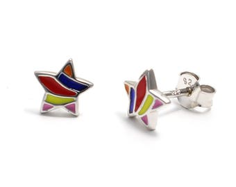 Star Stud Earrings 925 sterling silver rhodium plated and enamelled