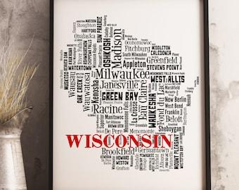 Wisconsin Map Art, Wisconsin Art Print, Wisconsin City Map, Wisconsin Typography Art, Wisconsin Wall Decor, Wisconsin Moving Gift
