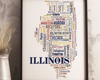 Illinois Map Art, Illinois Art Print, Illinois City Map, Illinois Typography Art, Illinois Poster Print, Illinois Word Cloud