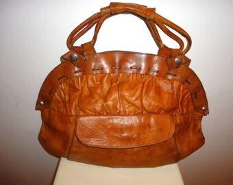 Really Nice Must See Cognac Leather Satchel/Shoulder Bag