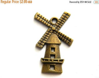 HALF PRICE 10 Bronze Windmill Charms  - Dutch Charm Holland Charm Netherlands Charm