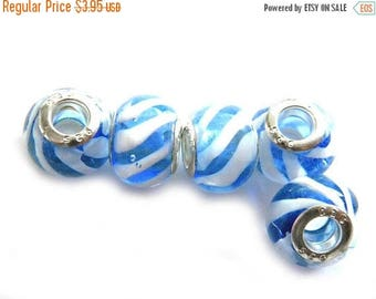 HALF PRICE 8 Blue Striped Glass Large Hole Silver Core Beads For European Charm Bracelets Etc