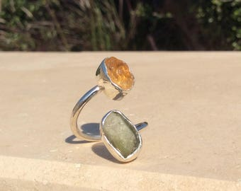 Raw Tourmaline and Citrine Two Stone Silver Ring, Dual Gemstone Ring, Double Stone Ring, Unique Double Stone Ring, Tourmaline Ring.