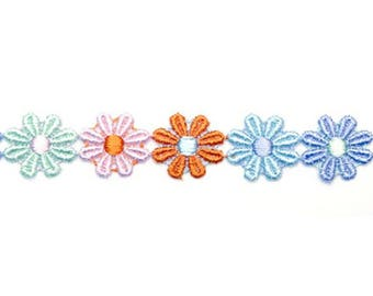 Lace guipure lace multicolored flowers