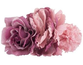 Pink Purple silk flowers composition
