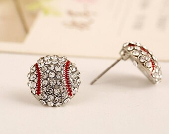Baseball Softball Bling Rhinestone Stud Earrings