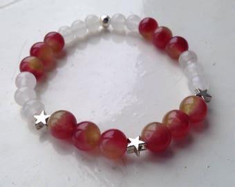 Watermelon Tourmaline and White Jade Bracelet
