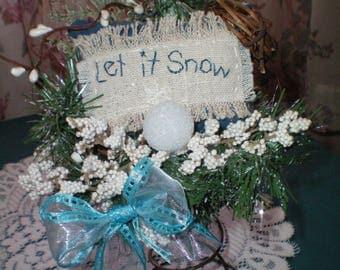 "Primitive ""Let it Snow"" Rusty Spring Decoration Accent, Winter Christmas Decor"