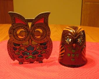Vintage Owl set, unique, colorful set of vintage owls