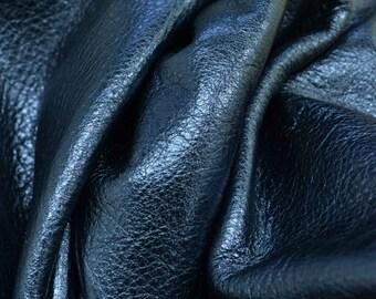 "Sapphire Twilight Metallic ""Vegas"" Leather Cow Hide 8"" x 10"" Pre-Cut  3 ounces grainy TA-51945 (Sec. 8,Shelf 4,A)"