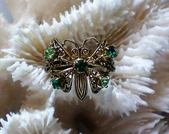 Filigree Butterfly Ring with Green Rhinestone Accents - 5483