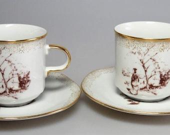 Bohemia Porcelain China Vintage Set Two Cups Plates  M.Z. Czechoslovakia