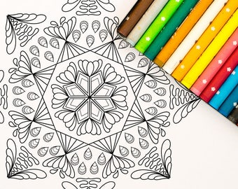 Mandala Coloring Page: A digital coloring page for adults perfect for stress relief, relaxing and meditation. Instant Download