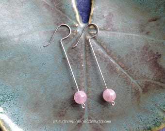 Long Rose Quartz Ball Earrings on Tarnish-Resistant Argentium Sterling Silver Wire