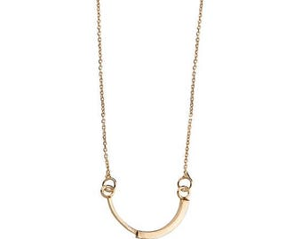 ON SALE Half Circle 14K Gold Large Geometric Minimalist Statement Necklace - Step Collection